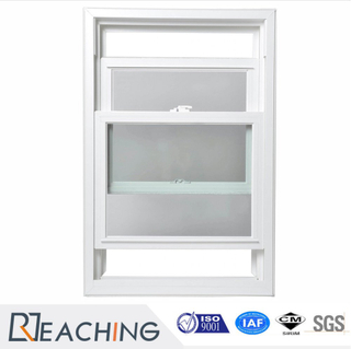 Double Tempered Glass Hung UPVC Window with Mosquito Net